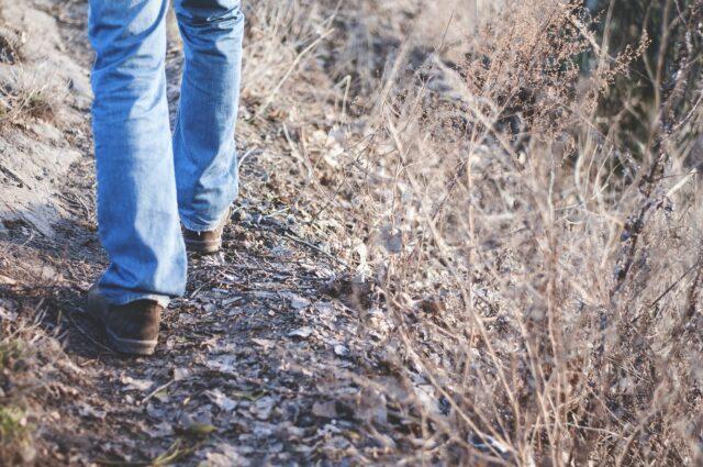 En person är ute och promenerar på en stig med rimfrost